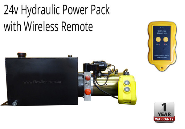Hydraulic Power pack -24V DC -10lt Tank with Wireless Remote