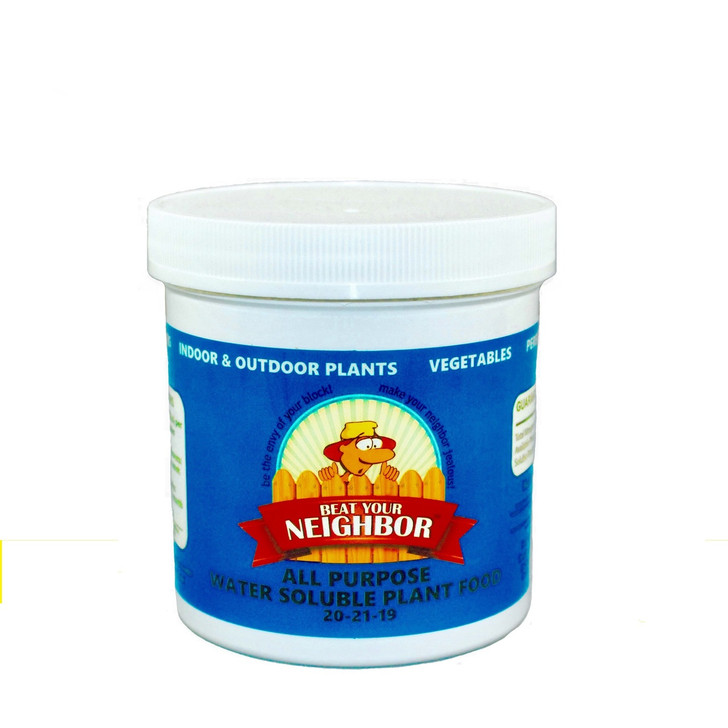 Beat Your Neighbor all purpose, water soluble fertilizer. Single jar makes about 96 gallons.