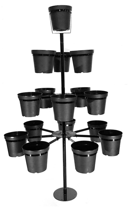 """Flowertunia Tree outdoor plant stand, 7 feet tall,  holds sixteen 10"""" pots (included.) Two mounting options: above ground base plate for decks/patios, concrete driveway OR in ground pole mounted."""