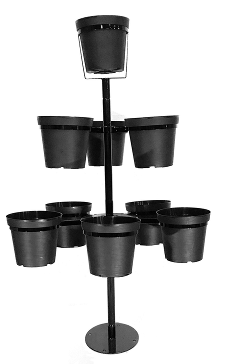 "Mini Flowertunia Tree outdoor plant stand, 5 feet tall,  holds nine 10"" pots (included.) Two mounting options: above ground base plate for decks/patios, concrete driveway OR in ground pole mounted."