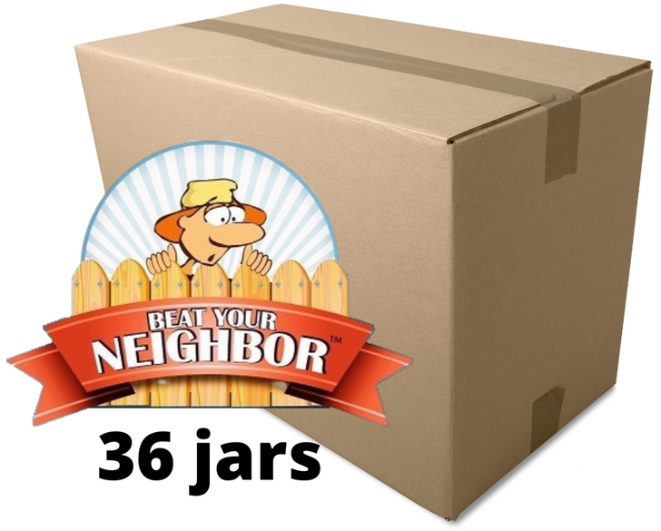 36 jars of Beat Your Neighbor all purpose, water soluble fertilizer. Wholesale Priced!