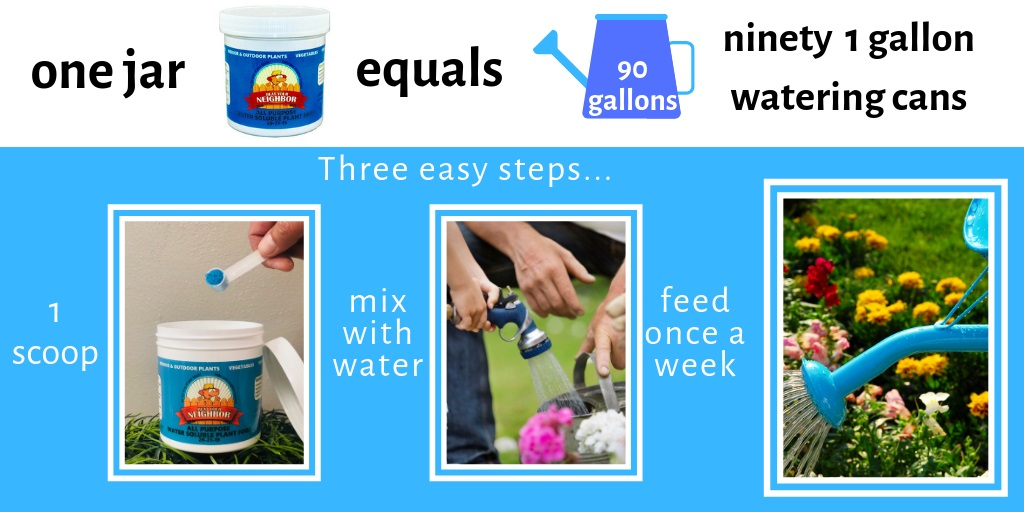 Beat Your Neighbor water soluble plant food and fertilizer. 1 jar  makes 90 gallons of fertilizer for flowers, garden or indoor plants.