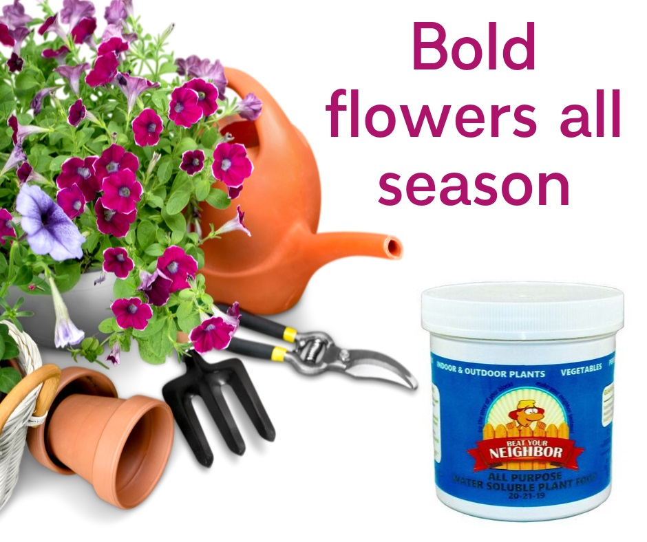 Grow beautiful flowers with our fertilizer. Bold flowers all season for your yard and landscaping. Grow huge vegetables and indoor plants.