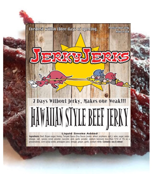 Hawaiian Style Jerky is Marinated with Teriyaki and Pineapple Juice.  This Top Sirloin Steak Jerky is cut thin and tender.