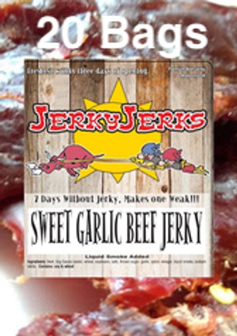 Sweet Garlic Premium Beef JerkyJerks Full Case 20 Bags
