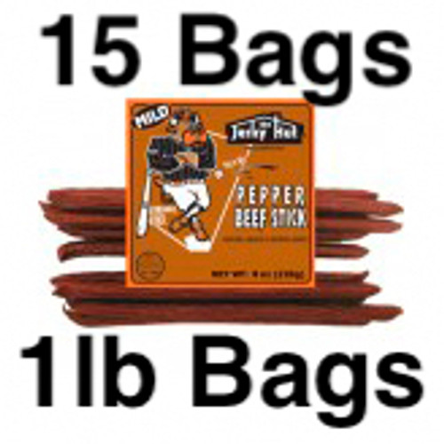 Mild Pepper Beef Sticks Long Ball Louie Full Case 15 Bags 15lbs