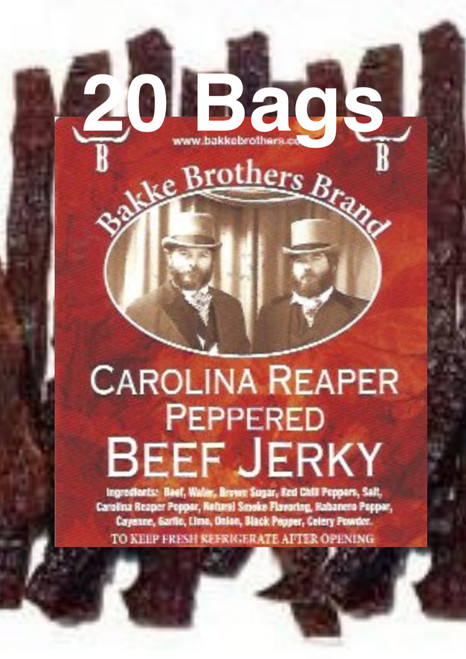 "Carolina Reaper ""INSANELY HOT"" Premium Beef Jerky Full Case 20 Bags"