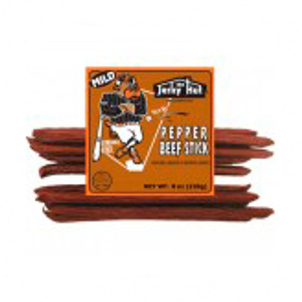 Long Ball Louie's beef stick is a mild smoked beef stick.  We added cracked black pepper for just a little bite.