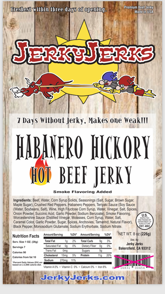 Top Sirloin Steak Cut Jerky with a Hickory Smokehouse Flavor and Spiced with Habaners Peppers