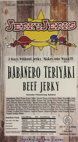 Prime cut, thick beef jerky. Tropical teriyaki with habanero chilies!