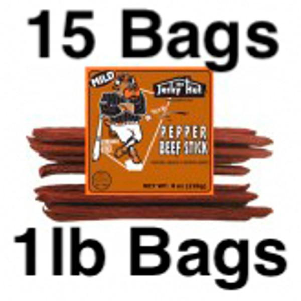 Mild Pepper Beef Sticks Long Ball Louie Full Case 15 Bags 15lbs