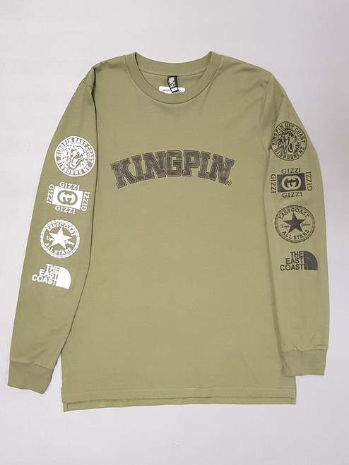 KINGPIN CURVE ICON L/S ARMY / BLACK / WHITE