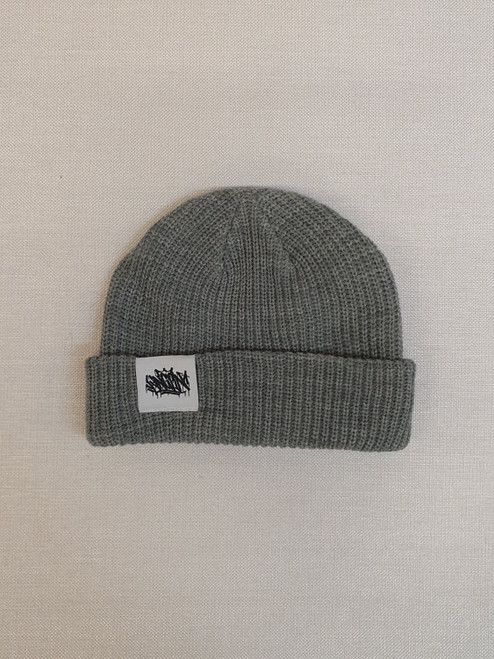 KINGPIN TAG CABLE BEANIE WHITE LABEL / GREY