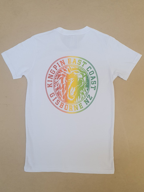 KINGPIN IRON LION TEE WHITE / RASTA