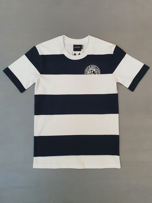 KINGPIN IRON LION WIDE STRIPE TEE NAVY / WHITE