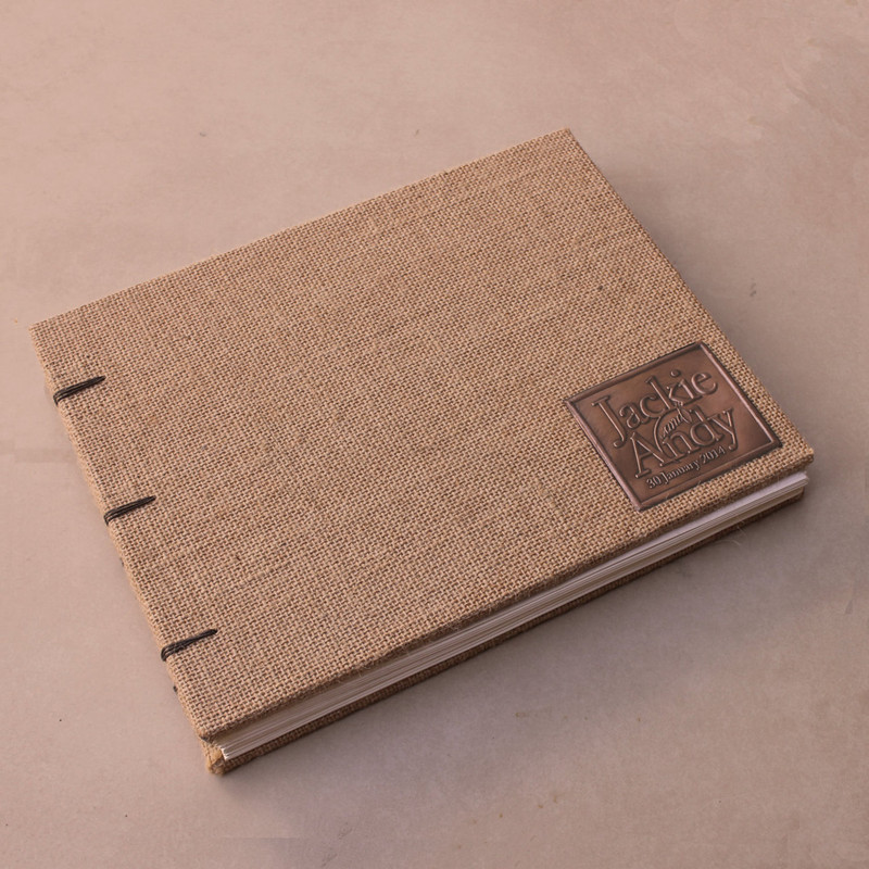 Rustic Wedding Guest Book -All Burlap- Coptic Binding - Customizable