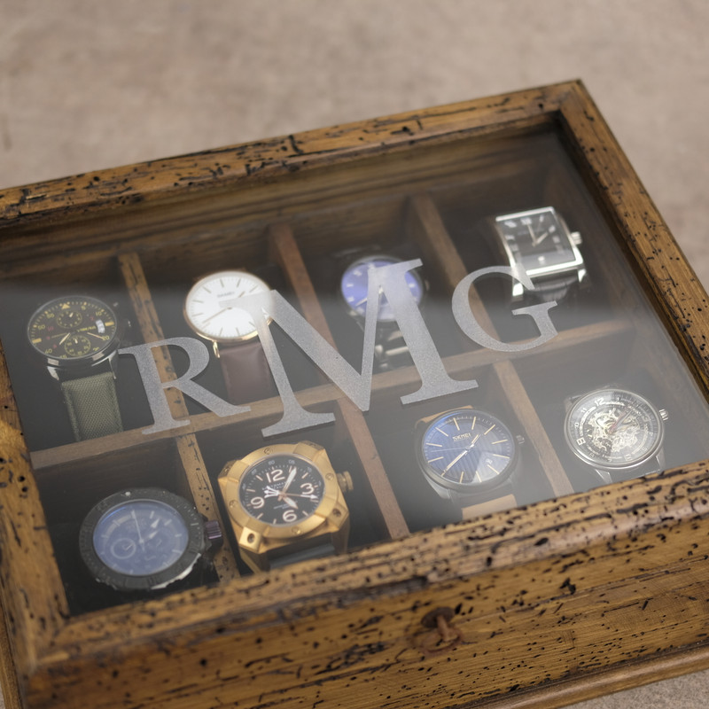 Watch Box N.8 with Secret Compartment - Glass Engraved