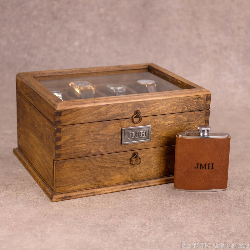 Gift Set - Watch Box + Flask