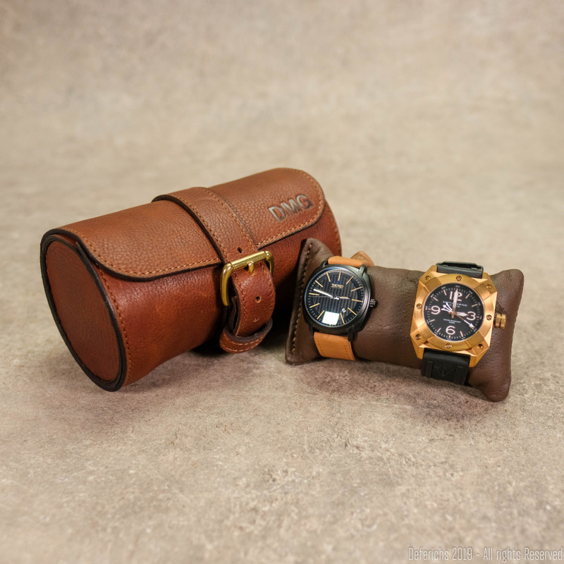 Leather Watch Roll for 2 Watches