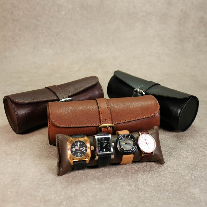 Leather Watch Roll for 4 Watches
