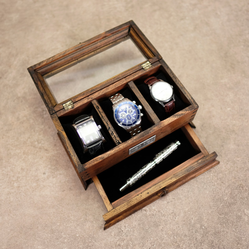 Watch Box for 3 Watches with Cufflink Drawer