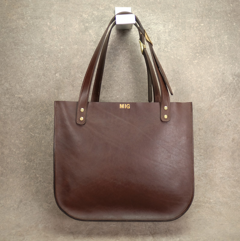 Personalized Leather Tote Bag