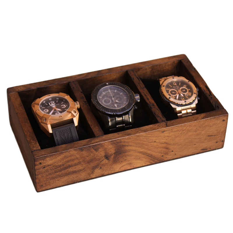 Curved Watch Box for 3 Watches with Secret Compartment