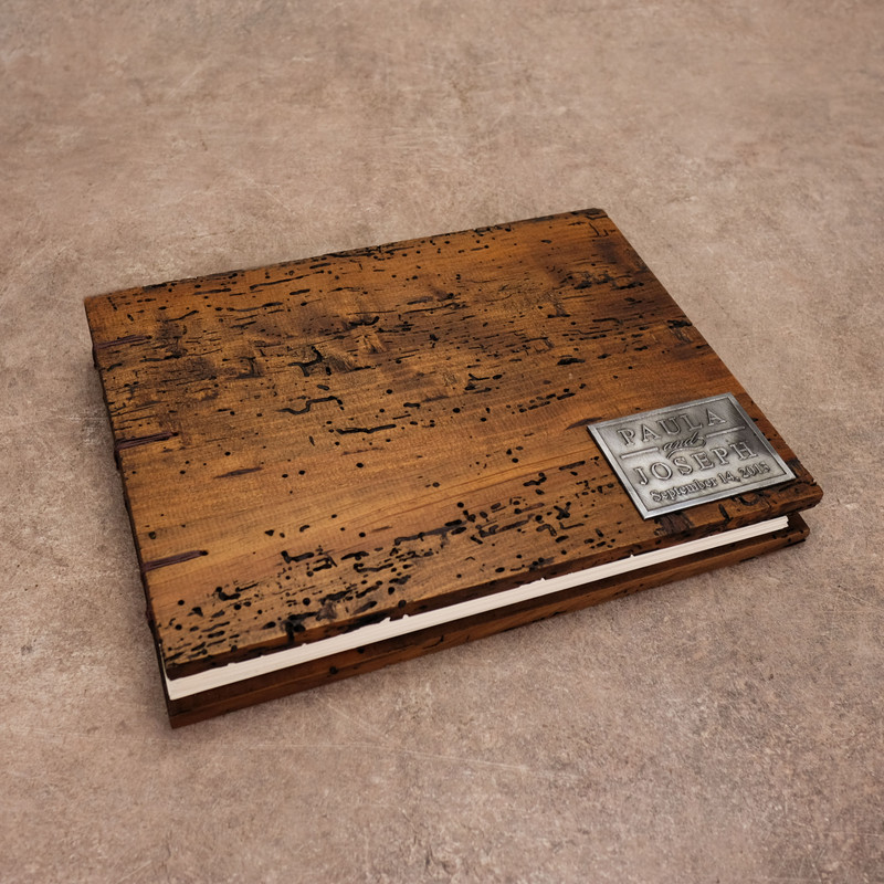 Original Rustic Wedding Guestbook - Coptic Binding
