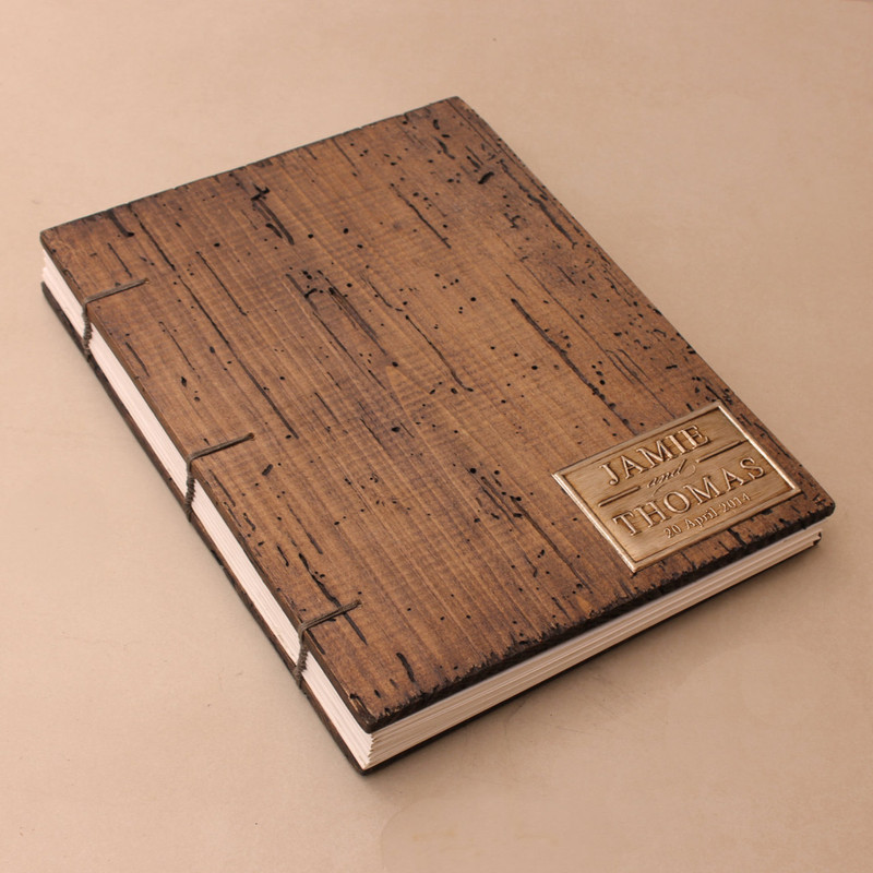 Rustic Wedding Guest Book - Coptic Binding - Truly Unique personalized with your initials or names - Vertical