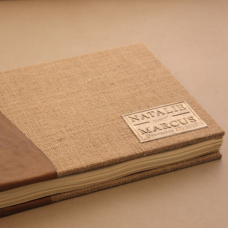Rustic Wedding Guest Book - Leather and Burlap- Coptic Binding - Customizable