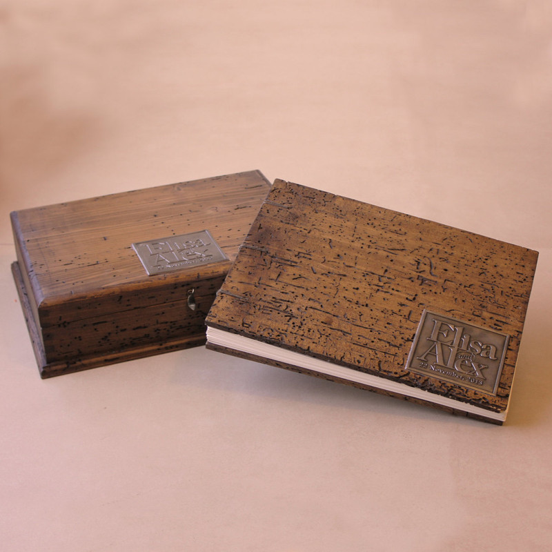 Rustic Wedding Guest Book with Rustic Wedding Keepsake Box. Coptic Binding