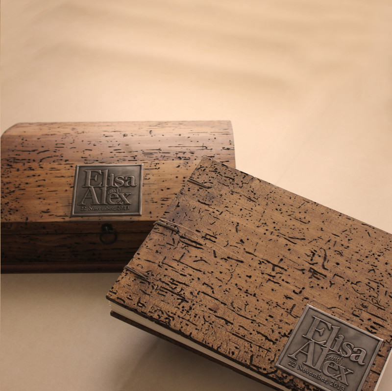 Rustic Wedding Guest Book with Rustic Wedding Keepsake Box (curved top).Coptic Binding