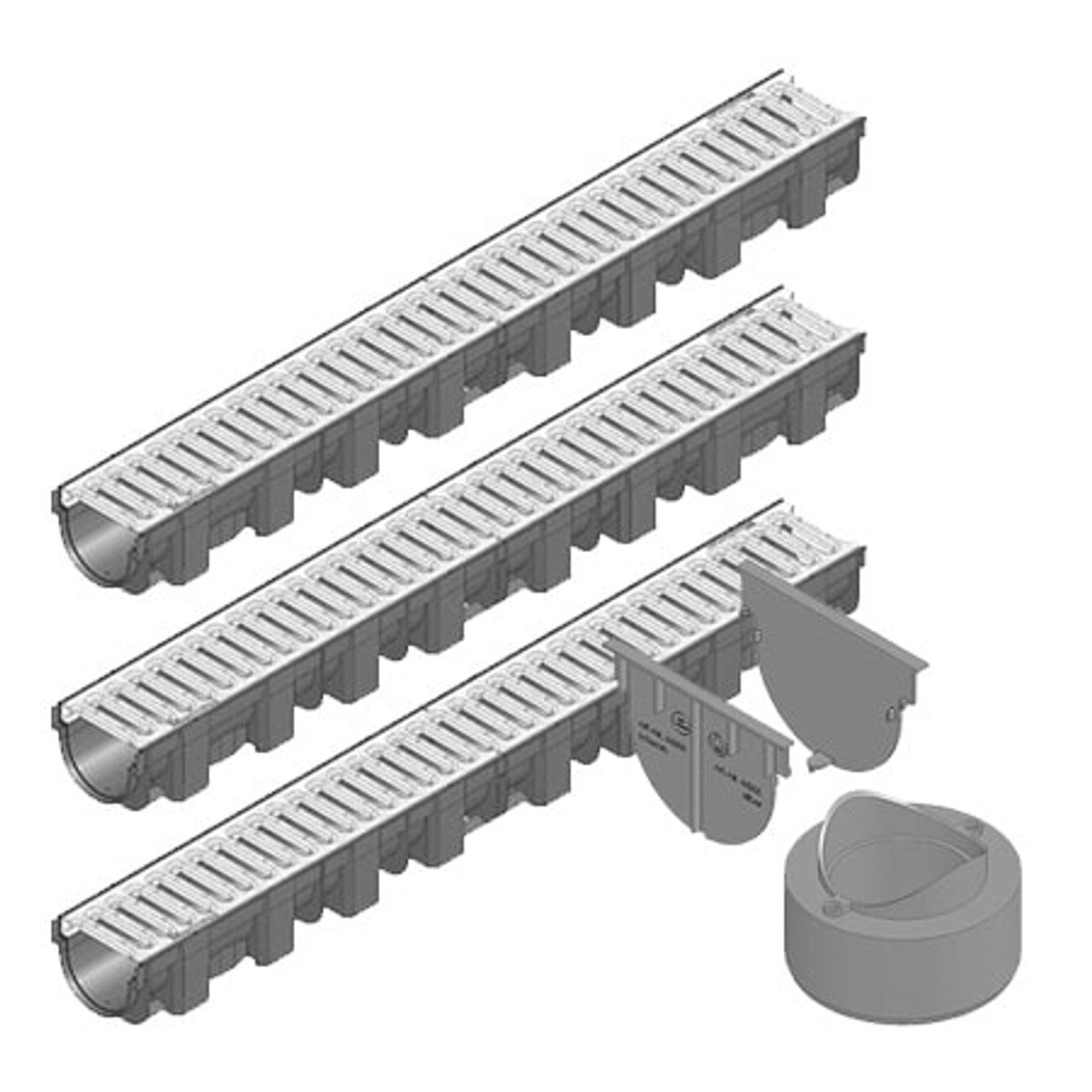 TOPX channel drain with galvanised steel grating; three channels with connection pack.
