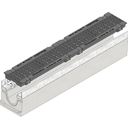 FASERFIX SUPER 100 channel drain with two F900 gratings.