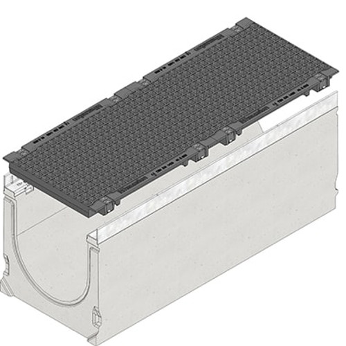 FASERFIX SUPER 300 channel drain with two E600 ductile iron mesh gratings.