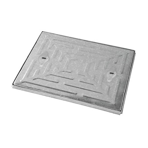 600mm x 450mm WREKiN Galvanised 25tn Solid Top S/S Manhole Cover & Frame.