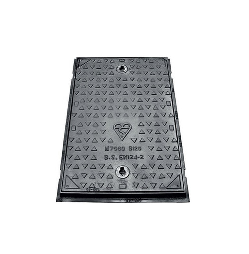 750mm x 600mm x 75mm Ductile Iron B125 WREKiN Single Seal Solid Top Access Cover.