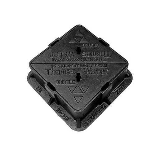 300mm x 300mm Ductile Iron BS5834 Grade A Double Triangular WREKiN Surface Box Cover.