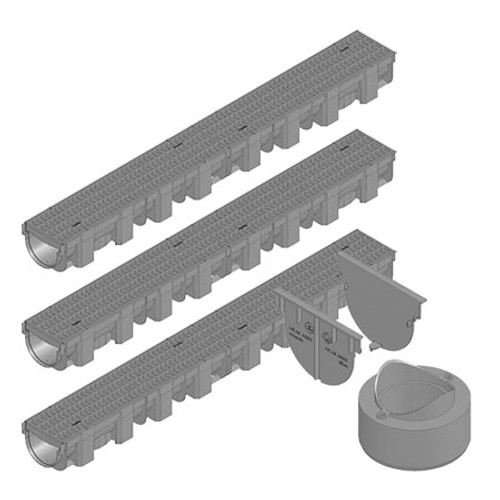 TOPX channel drain with composite mesh grating; three channels with connection pack.
