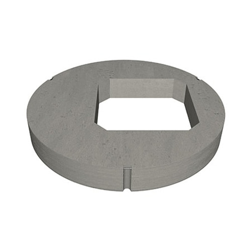 A 1050mm concrete manhole ring cover slab with 600 millimetre square opening in an eccentric position.