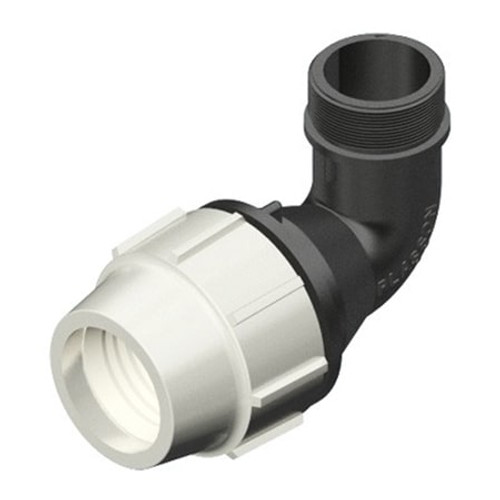 PLASSON 90dg MDPE Compression Elbow with Threaded Male Offtake.