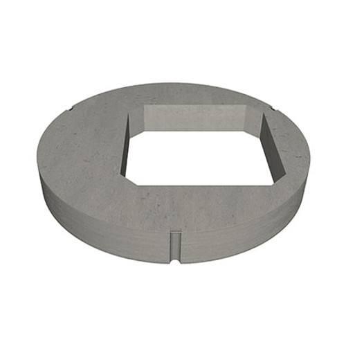 A 1050mm concrete manhole ring cover slab with 675mm square opening in an eccentric position.