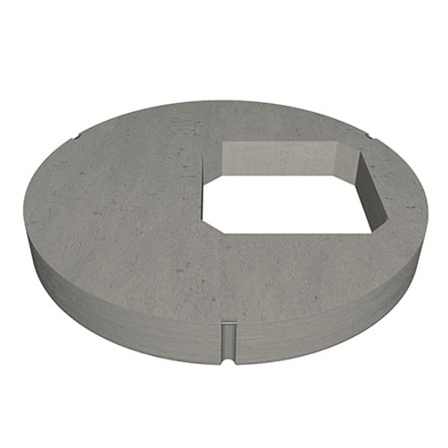 A 1200mm concrete manhole ring cover slab with 600mm square opening in an eccentric position.