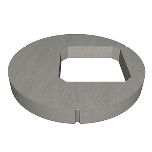 A 1200mm concrete manhole ring cover slab with 675mm square opening in an eccentric position.