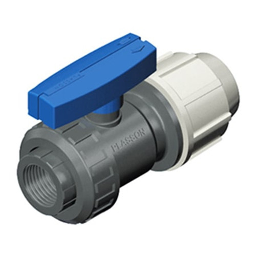 PLASSON One Nut Threaded/Compression PVC Ball Valve.