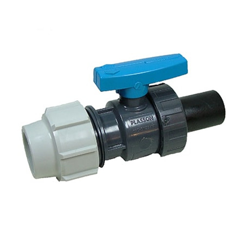 PLASSON EF Single Spigot Ball Valve PVC.