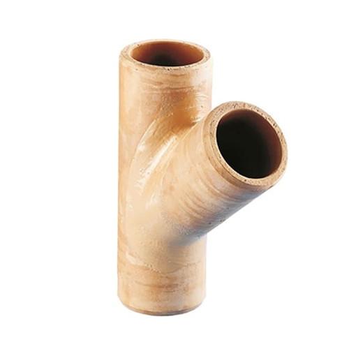 Densleeve Oblique (45dg) Plain End Clay Pipe Y Junction.