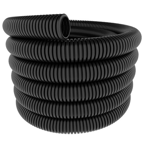 A coil of 28mm nominal diameter black flexible conduit coil.