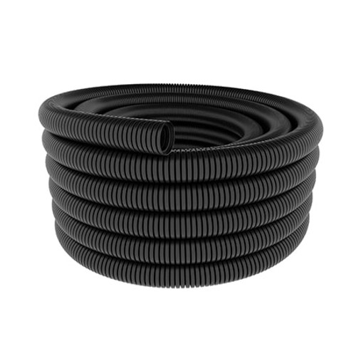 A coil of 15mm nominal diameter black flexible conduit coil.