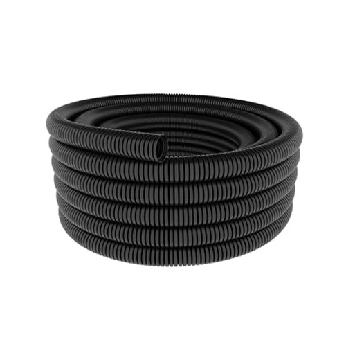 A coil of 12mm nominal diameter black flexible conduit coil.